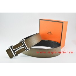 Hermes Light Gray/Black Leather Men Reversible Belt 18k Silver Smooth H Buckle