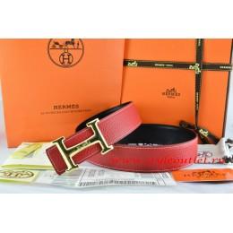 Hermes Red/Black Leather Men Reversible Belt 18k Gold Smooth H Buckle