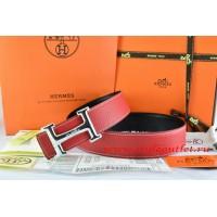 Hermes Red/Black Leather Men Reversible Belt 18k Silver Smooth H Buckle