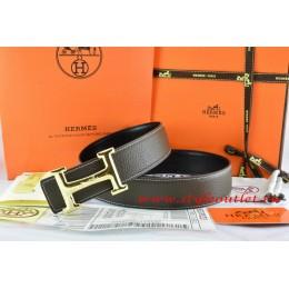 Hermes Brown/Black Leather Men Reversible Belt 18k Gold Smooth H Buckle