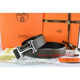 Hermes Brown/Black Leather Men Reversible Belt 18k Silver Smooth H Buckle