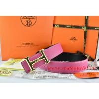 Hermes Pink/Black Leather Men Reversible Belt 18k Gold Smooth H Buckle