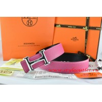 Hermes Pink/Black Leather Men Reversible Belt 18k Silver Smooth H Buckle