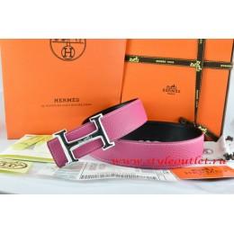 Hermes Pink/Black Leather Men Reversible Belt 18k Silver Smooth H Buckle