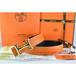 Hermes Orange/Black Leather Men Reversible Belt 18k Gold Smooth H Buckle