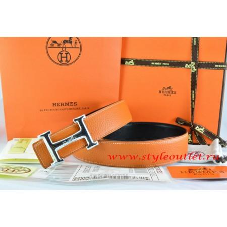 Hermes Orange/Black Leather Men Reversible Belt 18k Silver Smooth H Buckle