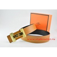 Hermes Light Coffe/Black Leather Men Reversible Belt 18k Gold Logo H Buckle
