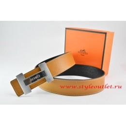 Hermes Light Coffe/Black Leather Men Reversible Belt 18k Silver Loog H Buckle