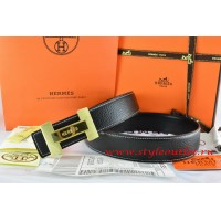Hermes Black/Black Leather Men Reversible Belt 18k Gold Logo H Buckle
