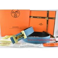 Hermes Blue/Black Leather Men Reversible Belt 18k Gold Logo H Buckle