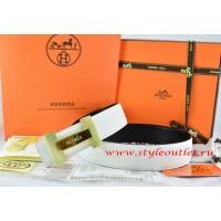 Hermes White/Black Leather Men Reversible Belt 18k Gold Logo H Buckle