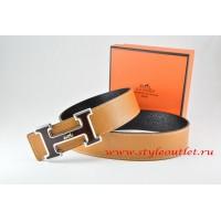 Hermes Light Coffe/Black Leather Men Reversible Belt 18k Black Silver Logo H Buckle