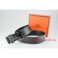 Hermes Black/Black Leather Men Reversible Belt 18k Black Silver H Buckle