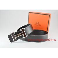 Hermes Black/Black Leather Men Reversible Belt 18k Black Silver Logo H Buckle