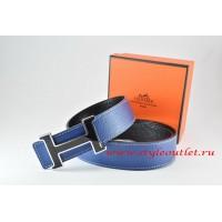 Hermes Dark Blue/Black Leather Men Reversible Belt 18k Black Silver H Buckle