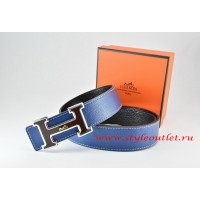 Hermes Dark Blue/Black Leather Men Reversible Belt 18k Black Silver Logo H Buckle