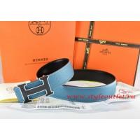 Hermes Blue/Black Leather Men Reversible Belt 18k Black Silver H Buckle