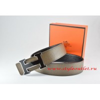 Hermes Light Gray/Black Leather Men Reversible Belt 18k Black Silver H Buckle