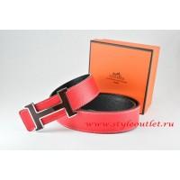 Hermes Red/Black Leather Men Reversible Belt 18k Black Silver H Buckle