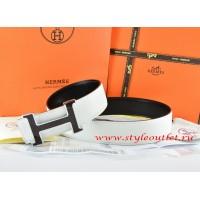 Hermes White/Black Leather Men Reversible Belt 18k Black Silver H Buckle