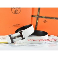 Hermes White/Black Leather Men Reversible Belt 18k Black Silver Logo H Buckle
