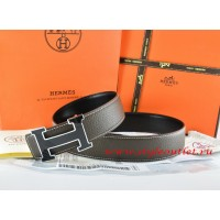 Hermes Brown/Black Leather Men Reversible Belt 18k Black Silver H Buckle
