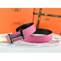 Hermes Pink/Black Leather Men Reversible Belt 18k Black Silver H Buckle