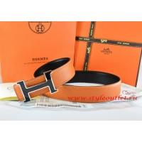 Hermes Orange/Black Leather Men Reversible Belt 18k Black Silver H Buckle
