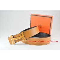 Hermes Light Coffe/Black Leather Men Reversible Belt 18k Orange Silver H Buckle
