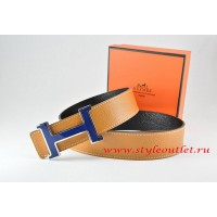 Hermes Light Coffe/Black Leather Men Reversible Belt 18k Blue Silver H Buckle