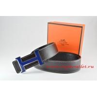 Hermes Black/Black Leather Men Reversible Belt 18k Black Blue Logo H Buckle