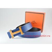 Hermes Dark Blue/Black Leather Men Reversible Belt 18k Orange Silver H Buckle