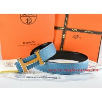 Hermes Blue/Black Leather Men Reversible Belt 18k Orange Silver H Buckle