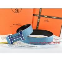 Hermes Blue/Black Leather Men Reversible Belt 18k Blue Silver H Buckle