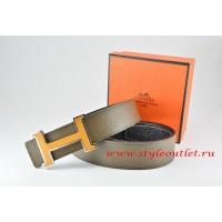 Hermes Light Gray/Black Leather Men Reversible Belt 18k Orange Silver H Buckle