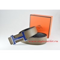 Hermes Light Gray/Black Leather Men Reversible Belt 18k Blue Silver H Buckle