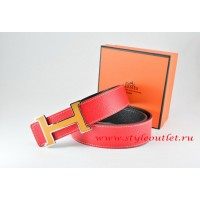 Hermes Red/Black Leather Men Reversible Belt 18k Orange Silver H Buckle