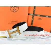 Hermes White/Black Leather Men Reversible Belt 18k Orange Silver H Buckle