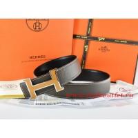 Hermes Brown/Black Leather Men Reversible Belt 18k Orange Silver H Buckle