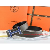 Hermes Brown/Black Leather Men Reversible Belt 18k Blue Silver H Buckle