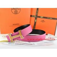 Hermes Pink/Black Leather Men Reversible Belt 18k Orange Silver H Buckle
