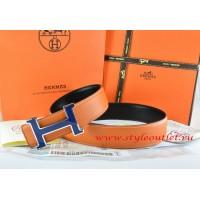 Hermes Orange/Black Leather Men Reversible Belt 18k Blue Silver H Buckle