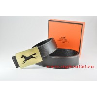 Hermes Black/Black Leather Men Reversible Belt 18k Hollow Horse Gold Buckle