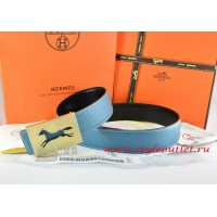 Hermes Blue/Black Leather Men Reversible Belt 18k Hollow Horse Gold Buckle