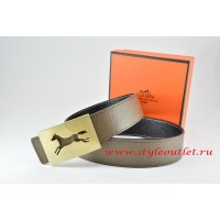Hermes Light Gray/Black Leather Men Reversible Belt 18k Hollow Horse Gold Buckle