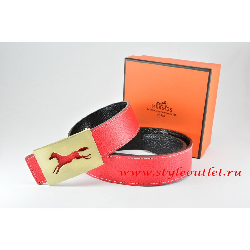 fad3e58479afa ... sweden hermes red black leather men reversible belt 18k hollow horse  gold buckle 6f9be 1e1f0