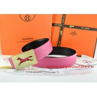 Hermes Pink/Black Leather Men Reversible Belt 18k Hollow Horse Gold Buckle