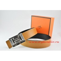 Hermes Light Coffe/Black Leather Men Reversible Belt 18k Silver Big H Buckle