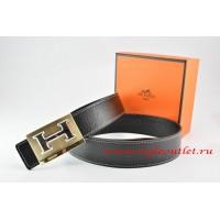 Hermes Black/Black Leather Men Reversible Belt 18k Orange Gold Big H Buckle