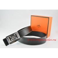 Hermes Black/Black Leather Men Reversible Belt 18k Silver Big H Buckle